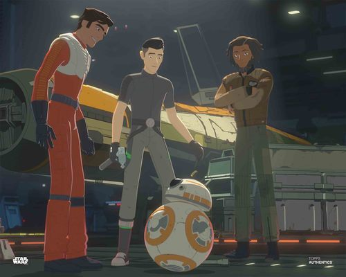 Poe Dameron, Kazuda Xiono, Jarek Yeager and BB-8