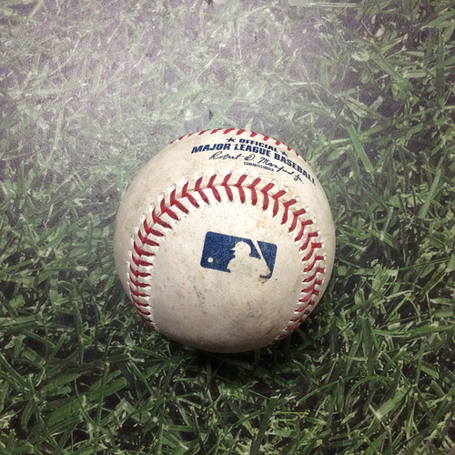 Photo of Game-Used Baseball COL@MIL 05/02/19 - Freddy Peralta - Charlie Blackmon: Single