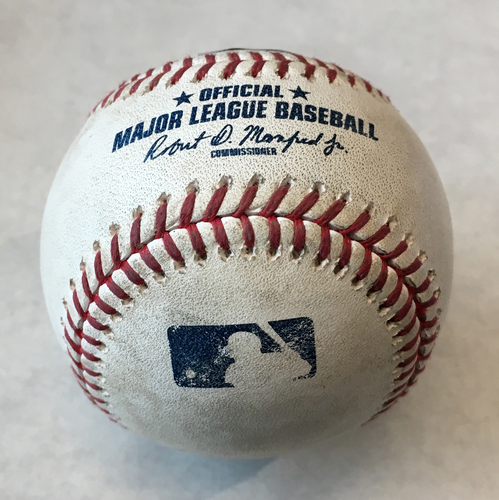 Photo of Game-Used Baseball -- Lucas Giolito to Kyle Schwarber, Double, Bot 1 -- White Sox vs. Cubs -- 6/19/19