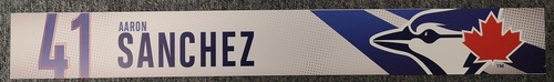 Photo of Authenticated Game Used Locker Name Plate: #41 Aaron Sanchez (2019 Regular Season)