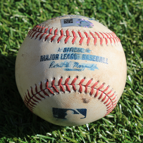 Photo of Game-Used Baseball: Alex Bregman Fly Out and Yordan Alvarez Walk (9/13/19 - HOU @ KC)