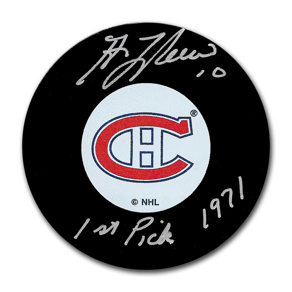 Guy Lafleur Autographed Montreal Canadiens Puck w/1971 1ST PICK Inscription