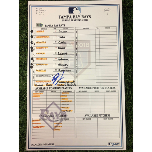 Photo of Replica Autographed Spring Training Line-Up Card: Ryan Yarbrough
