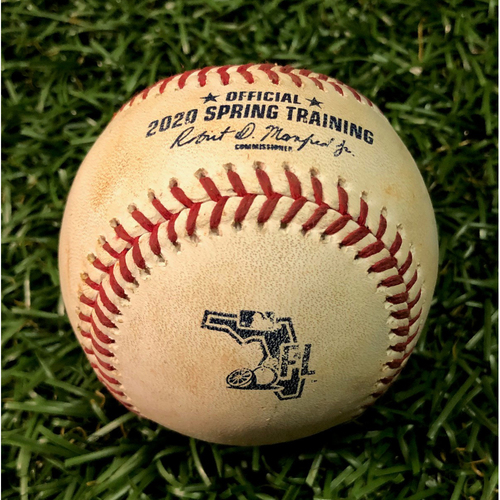 Photo of Spring Training Game Used Baseball: Jeffrey Spring ball-in-dirt to Yoshitomo Tsutsugo - February 24, 2020 v BOS