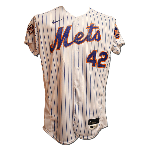 Photo of Dominic Smith #2 - Game Used Jackie Robinson Day Jersey and Hat - 1-4, RBI - Mets vs. Nationals - 4/23/21