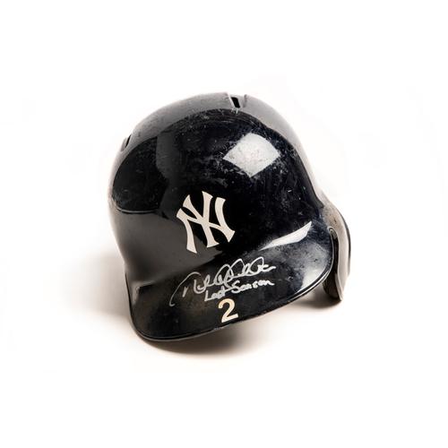 Photo of Derek Jeter Autographed Game-Used Helmet from 2014 Season - Inscribed: 'Last Season'