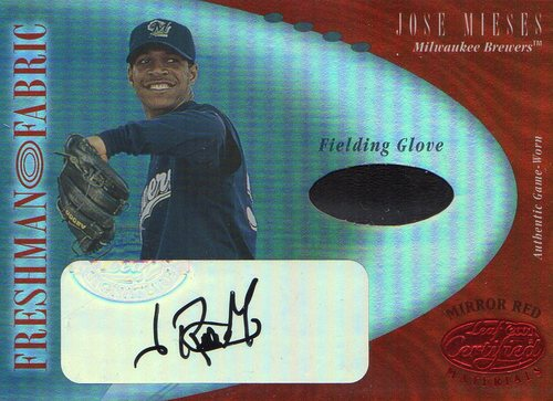 Photo of 2001 Leaf Certified Materials Mirror Red #126 Jose Mieses FF Fld Glv AU