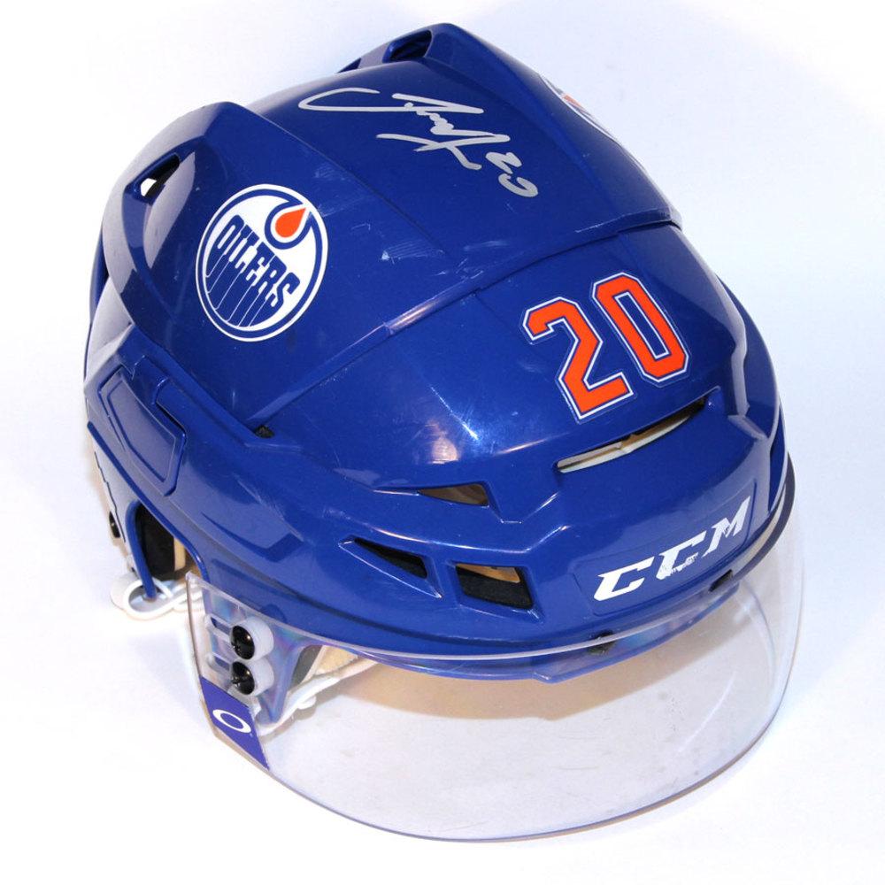 Luke Gazdic #20 - Autographed 2013-14 Edmonton Oilers Game Worn Royal Blue CCM Helmet