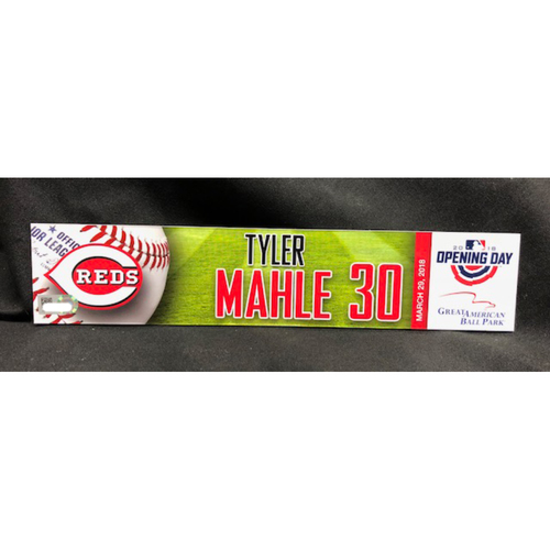 Photo of Tyler Mahle Opening Day Locker Name Plate -- First Career Opening Day Roster -- WSH vs. CIN on 3/30/18
