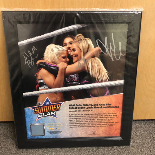 Photo of Alexa Bliss, Nikki Bella, & Natalya SIGNED SummerSlam 2016 Signature Series Ring Canvas Plaque (#1 of 5)
