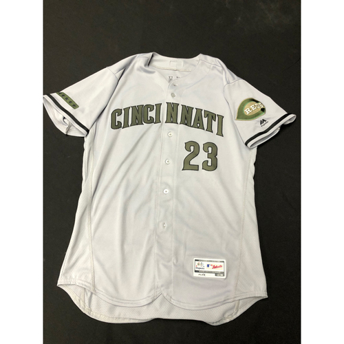 Photo of Adam Duvall -- Game-Used -- Memorial Day Jersey (Worn: May 26-28, 2018)