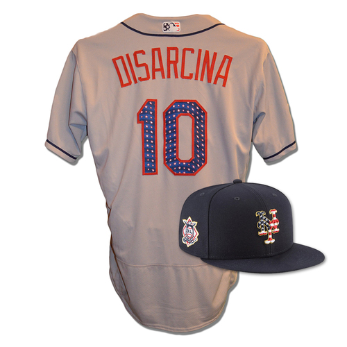Photo of Gary DiSarcina #10 - Game Used 4th of July Jersey and Hat - Mets vs. Blue Jays - 7/4/18