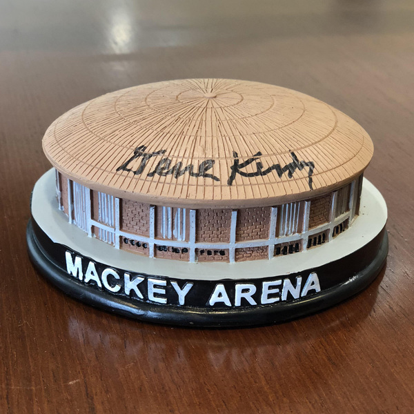Photo of Mackey Arena Mini Replica Signed by Coach Keady