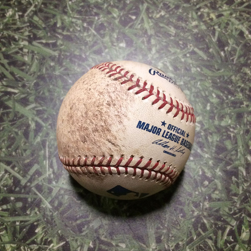 Photo of Game-Used Baseball NYM@MIL 06/08/11 - Randy Wolf - Angel Pagan: Ball