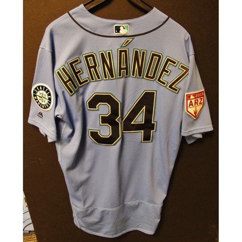 Photo of Felix Hernandez Team Issued Light Blue Spring Training Jersey 2019  Exhibition Game - SD @ SEA 3-26-2019