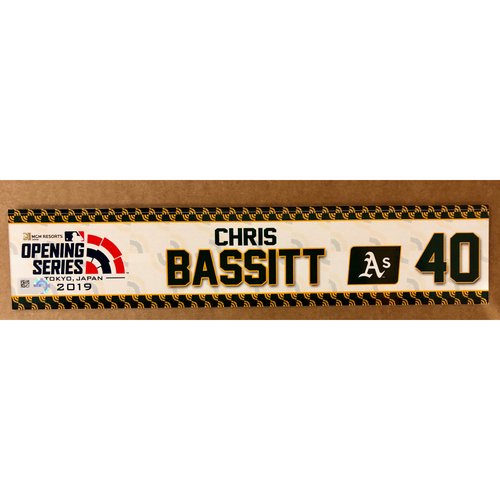 Photo of 2019 Japan Opening Day Series - Game Used Locker Tag - Chris Bassitt -  Oakland Athletics