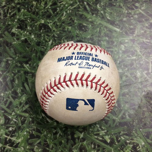 Photo of Game-Used Baseball CIN@MIL 05/22/19 - Luis Castillo - Keston Hiura: Foul