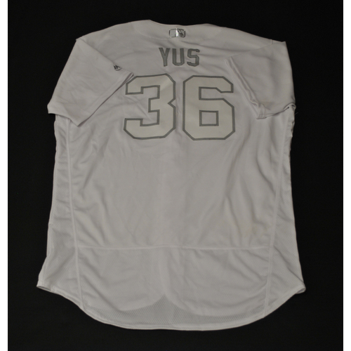 "Photo of Yusmeiro ""YUS"" Petit Oakland Athletics Game-Used 2019 Players' Weekend Jersey"