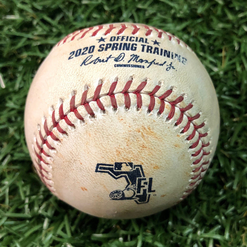 Photo of Spring Training Game Used Baseball: Yonny Chirinos strikes out Tzu-Wei Lin - February 24, 2020 v BOS