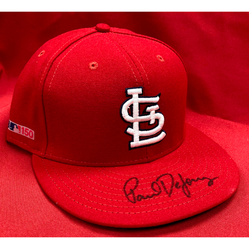 Paul DeJong Autographed Game Used Home Cap (STL @ MIL March 28, 2019, Size 7 1/4)