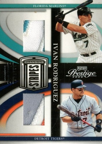 Photo of 2005 Playoff Prestige Changing Stripes Material Dual Jersey Prime #1 I.Rod Marlins-Tigers/25