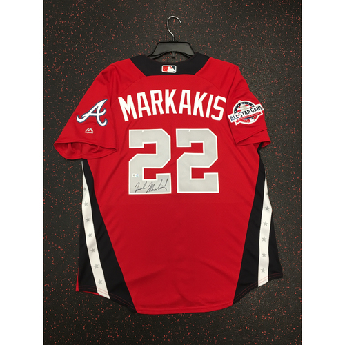 Photo of Nick Markakis 2018 Major League Baseball Workout Day Autographed Jersey