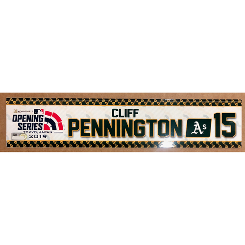 Photo of 2019 Japan Opening Day Series - Game Used Locker Tag - Cliff Pennington -  Oakland Athletics