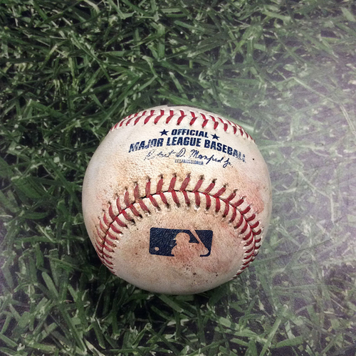 Photo of Game-Used Baseball PHI@MIL 05/25/19 - Jhoulys Chacin - Bryce Harper: First Four Pitches of At-Bat for 1,000th Career Strikeout (Strike, Strike, Ball, Ball)