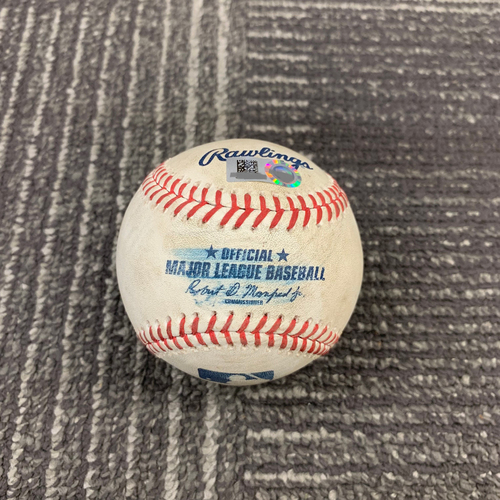 Photo of 2019 Game Used Baseball vs. San Diego Padres - 6/11/19 - T-2: Tyler Beede to Wil Myers - Strikeout Looking & Austin Hedges - Foul Ball