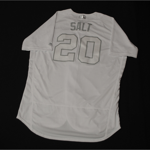 """Photo of Brandon """"SALT"""" Kintzler Chicago Cubs Game-Used 2019 Players' Weekend Jersey"""