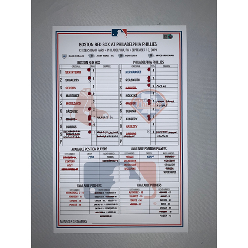 Photo of Boston Red Sox VS Philadelphia Phillies September 15, 2019 Game Used Lineup Card - Red Sox Win 6 to 3