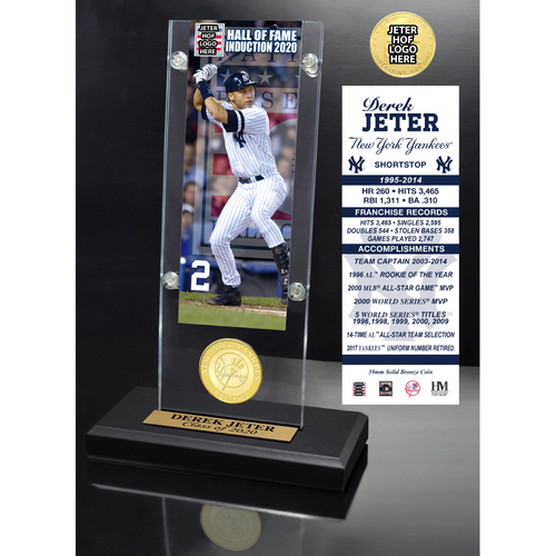 Photo of Derek Jeter 2020 HOF Ticket & Bronze Coin Acrylic Desk Top