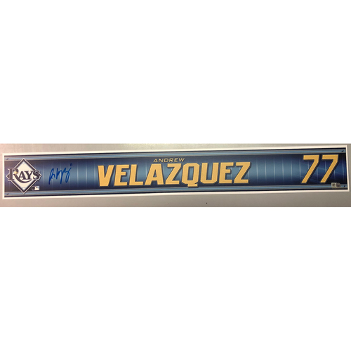 Photo of Team Issued Autographed Spring Training Locker Tag: Andrew Velazquez