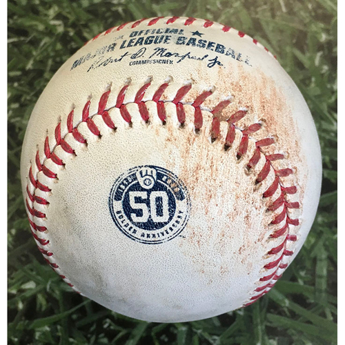 Photo of Game-Used Baseball MIN@MIL 08/10/20 - Adrian Houser - Jorge Polanco: Single