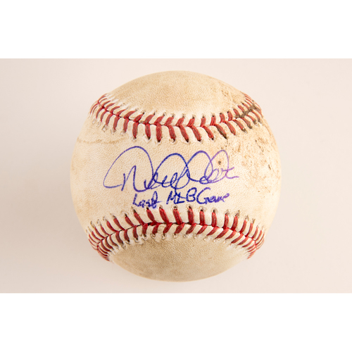 Photo of Derek Jeter Autographed Game-Used Baseball from Last MLB Game (9/28/14 at BOS) - Inscribed: 'Last MLB Game'