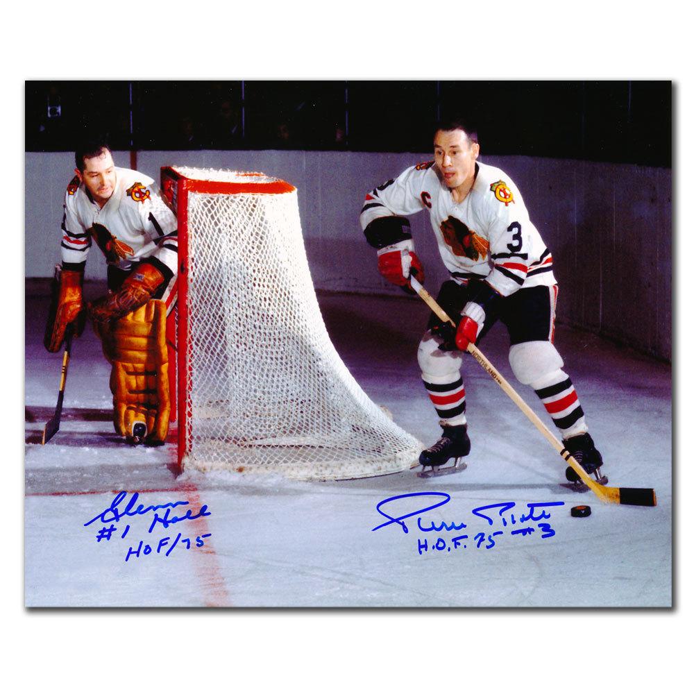 Glenn Hall & Pierre Pilote Chicago Blackhawks HOF Autographed 16x20