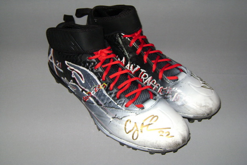 MY CAUSE MY CLEATS - SAINTS COBY FLEENER SIGNED AND GAME WORN CUSTOM CLEATS (2016)