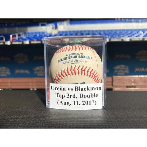 Game-Used Baseball: Urena vs Blackmon (Double)