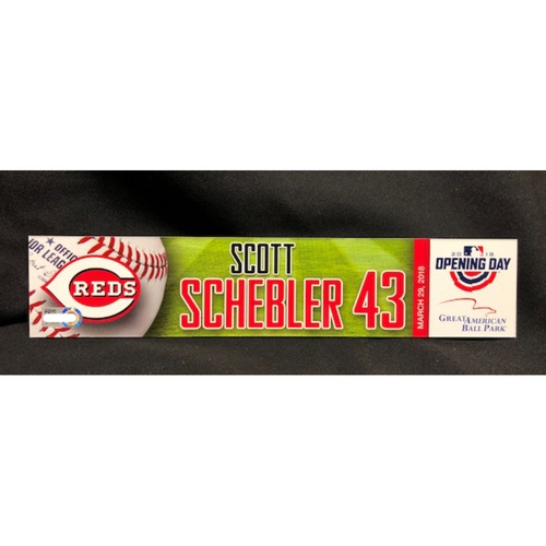 Photo of Scott Schebler Opening Day Locker Name Plate -- Reds Opening Day Right Fielder -- WSH vs. CIN on 3/30/18