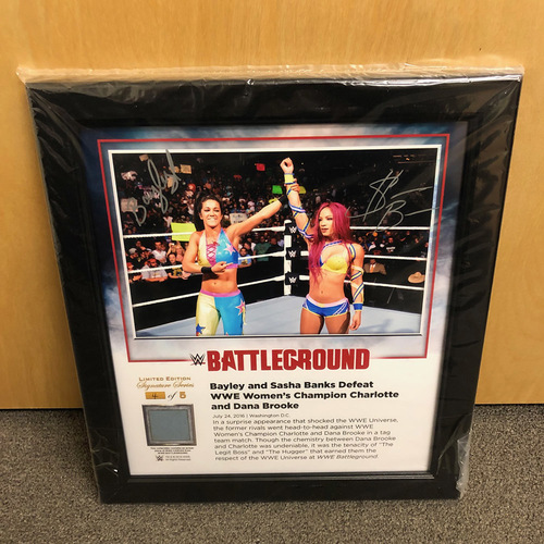 Photo of Sasha Banks & Bayley SIGNED Battleground 2016 Signature Series Ring Canvas Plaque (#2 of 5)