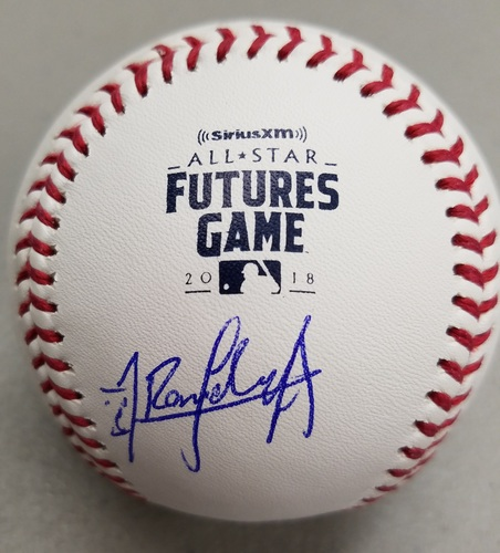 Photo of Randy Arozarena Autographed 2018 Futures Logo Baseball