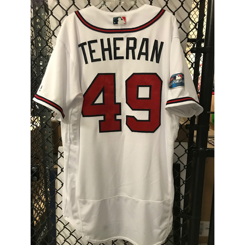 Photo of Julio Teheran Game-Used 2018 NLDS Jersey - Worn 10/7/18 - First Postseason Game at SunTrust Park