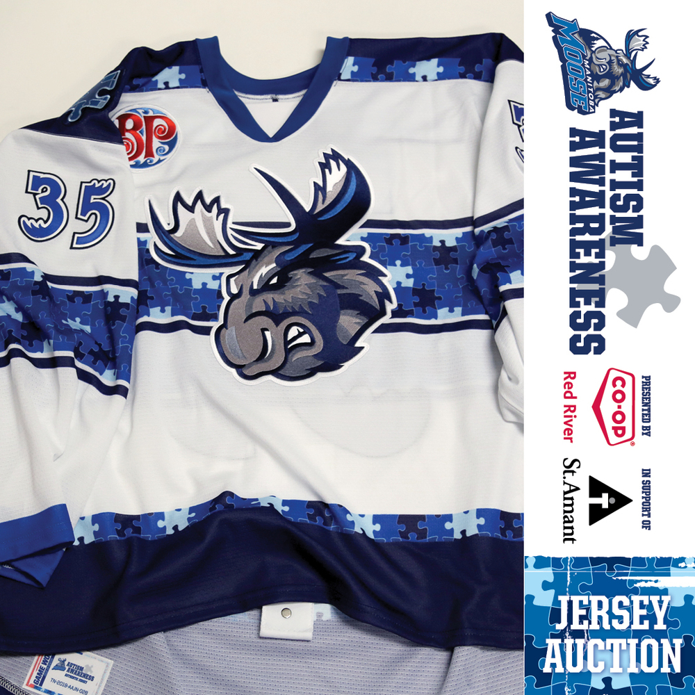 KEN APPLEBY Manitoba Moose Game Issued Autism Awareness Jersey