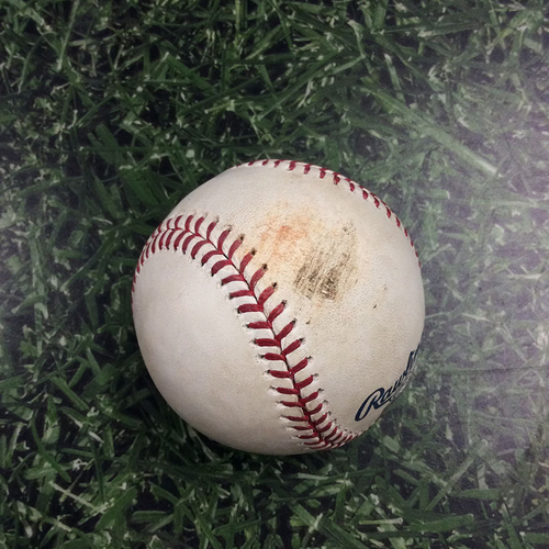 Photo of Game-Used Baseball PHI@MIL 05/25/19 - Jhoulys Chacin - Jake Arrieta: Career Strikeout #1,001