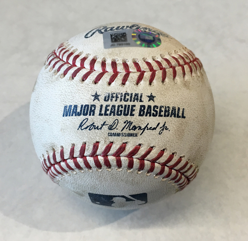 Photo of Game-Used Baseball -- Tyler Chatwood to Peter Alonso, Single, Top 1 -- Tyler Chatwood to Robinson Cano, Double Play, Top 1 -- Mets vs. Cubs -- 6/20/19