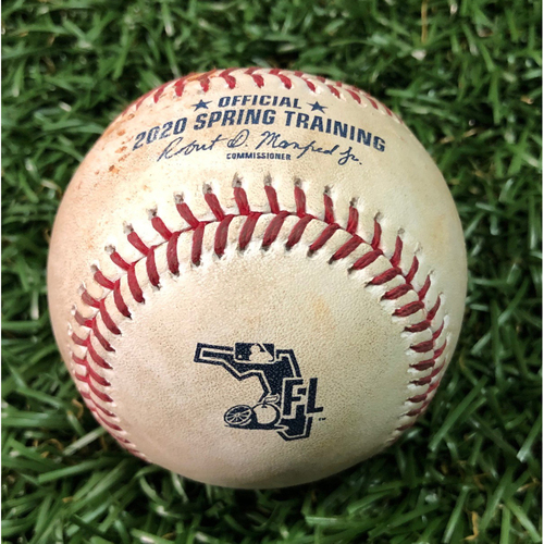 Photo of Spring Training Game Used Baseball: Kevin Plawecki single off Yonny Chirinos - February 24, 2020 v BOS