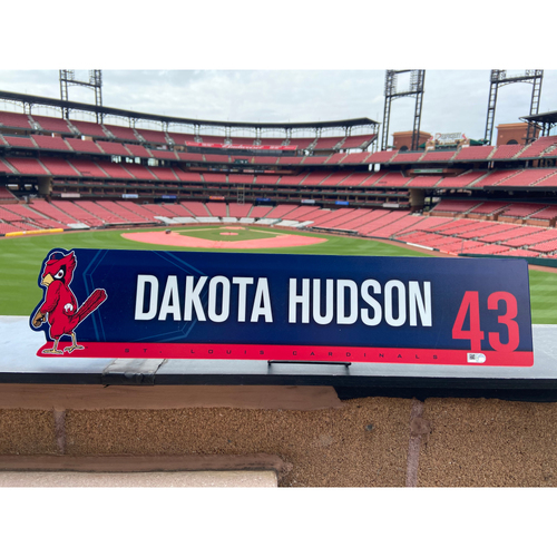 Photo of Cardinals Authentics: Dakota Hudson Game Used 2019 Locker Tag