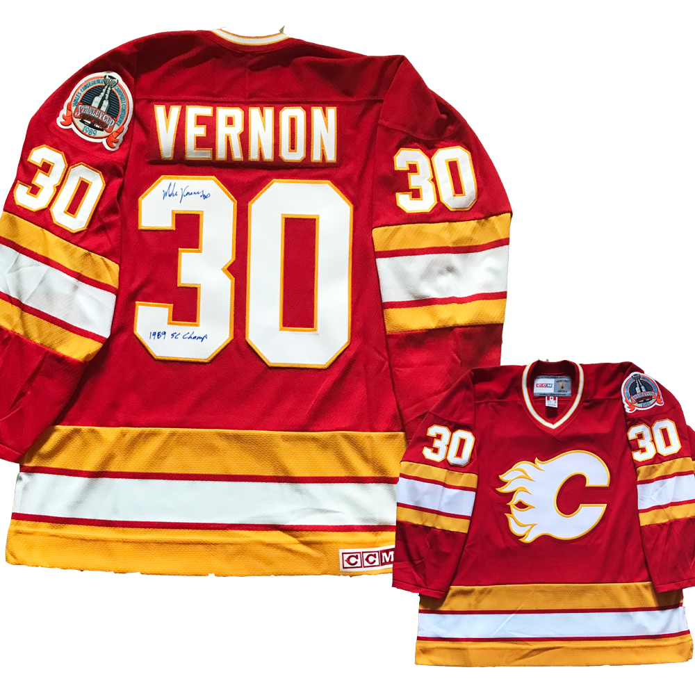 MIKE VERNON Signed Calgary Flames Red CCM Jersey with 1989 SC Patch - Inscribed