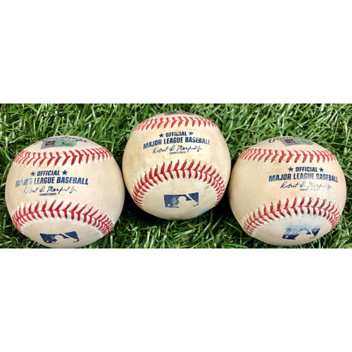 Photo of Game Used Baseball Package: Yoshi Tsutsugo, Kevin Kiermaier and Willy Adames - September 15, 2020 v WSH