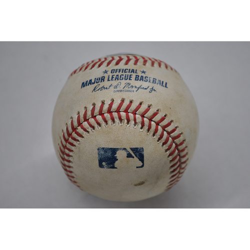 Photo of Game-Used Baseball - 2020 ALDS - Oakland Athletics vs. Houston Astros - Game 4 - Pitcher: Zack Greinke, Batters: Marcus Semien (Single to CF), Tommy LaStella (Lines into Double Play), Chad Pinder (Foul) - Top 3